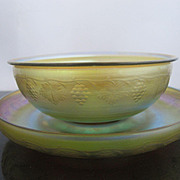 L.C. TIFFANY Favrile IRIDESCENT Finger Bowl & Ice Plate w/Etched GRAPE Leaves Vines Design