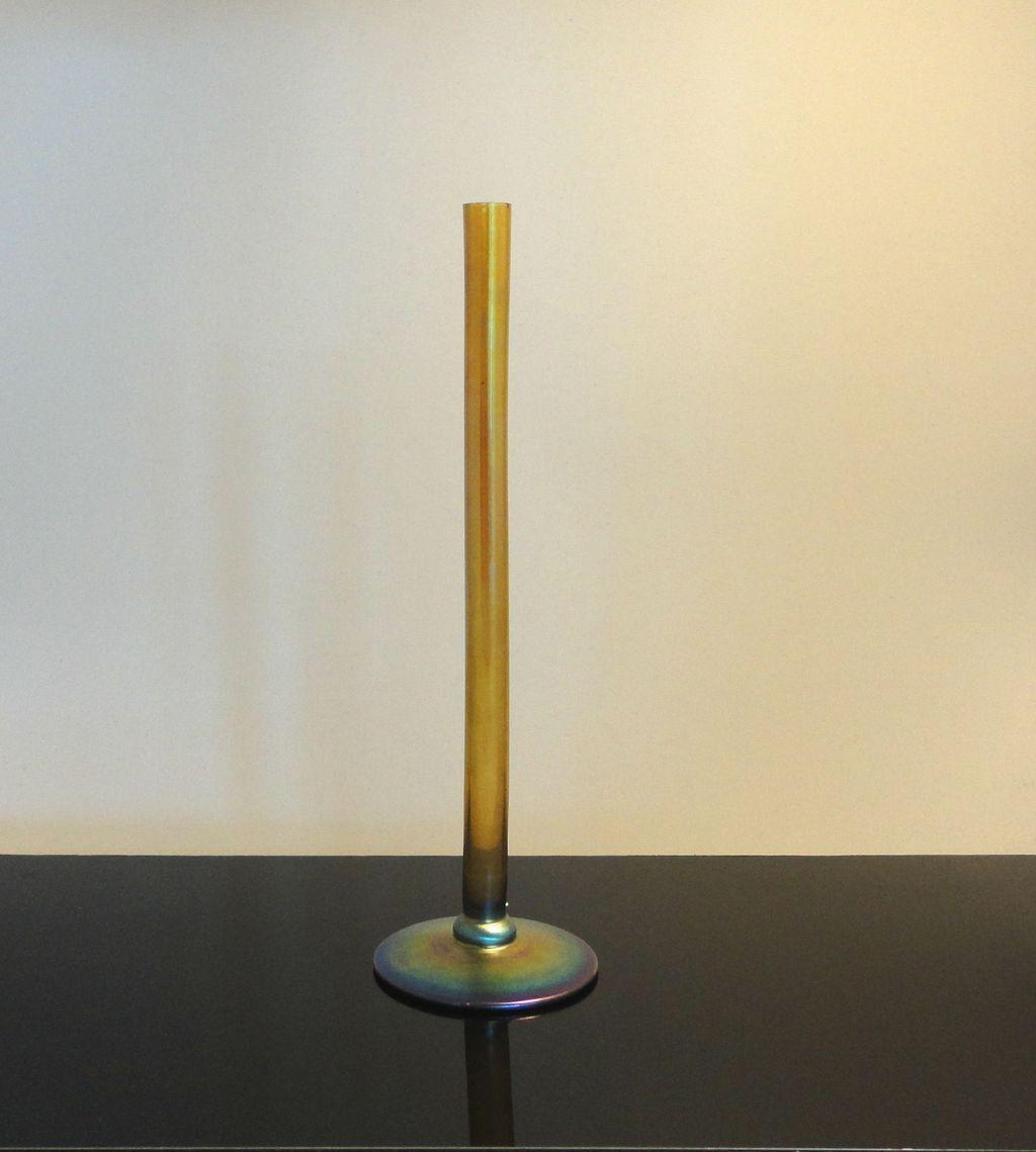 Gold Iridescent Steuben Aurene Stick Vase