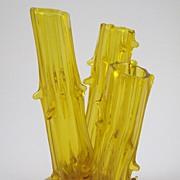 Steuben Bristol Yellow Three Stump Vase