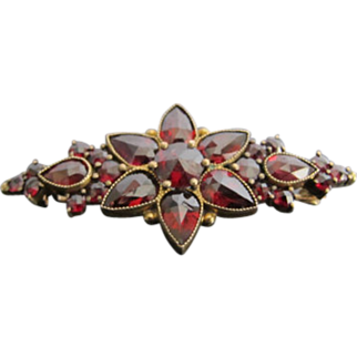 Antique Victorian Revival Garnet Brooch in 10k Gold
