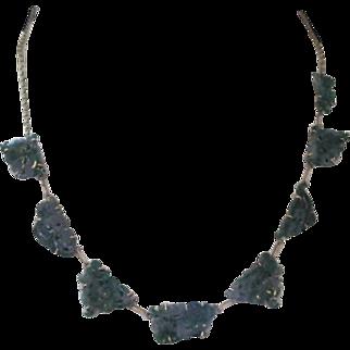 Vintage Carved Floral Jadeite 14k Gold Necklace