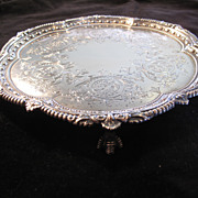 1902 Sheffield Three-Footed Sterling Silver Hand Chased Plate Salver
