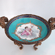 Sevres Porcelain Bowl - Artist Denis Lev - Handpainted Putti - Gilt Bronze - c1754