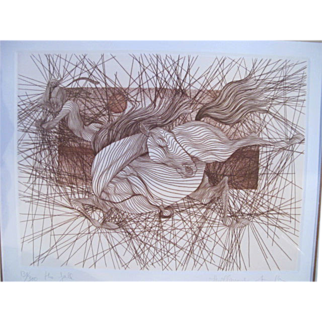 Signed Limited Edition Sketch Art Horse Print THE FALL by Guillaume Azoulay