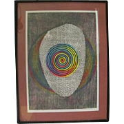 Iwata Kiyoshi Fluorescent Geometric Signed Limited Ed Woodcut Art Print Ceremony