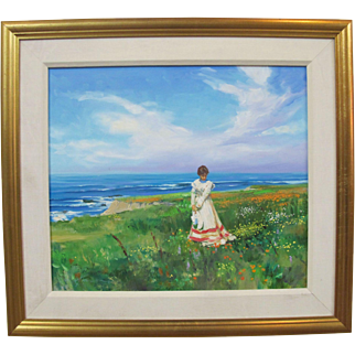 JACK FELLOWS Original Oil Painting CAMBRIA Woman in Coastal Field of Flowers