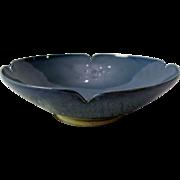 Signed Elsa Rady Studio Pottery California Mid Century Modern Blue Soy Bowl