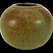 Globular Earthy Green Pot Vase Signed Shawn Rassekh BC Studio Pottery
