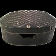 Japanese Chevron Striped Studio Pottery Oblong Ink Stone Box w/Lid Signed Kanji