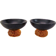 Pair Ceramic & Glass Sake Cups Slate Black & Amber Glass Leaf Pattern Signed and Dated