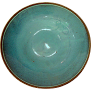 Turquoise Japanese Studio Pottery Small Footed Shallow Bowl Dish