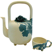 Exquisite Galina Rein Pate-sur-pate Teapot & Cup Russia Cobalt Pottery Seattle