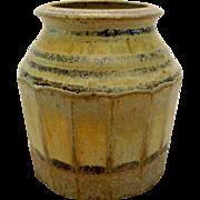 Johnny Rolf Petite Jar Pot Stoneware Vase Paneled Side w/Rolled Rim Dutch