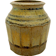 Johnny Rolf Petite Jar Pot Stoneware Vase Paneled Side w/Rolled Rim Dutch