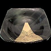 Japanese Oribe Black & Cream Geometric Abstract Modern Art Bowl Dish