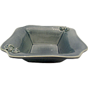 Signed Celadon Blue British Studio Pottery Bowl Dish Tray w/2 Masks Faces