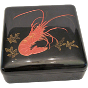 Vietnamese Signed Lacquer Detailed Crayfish Gold Leaf Design Trinket Box w/Lid