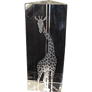 Vicke Lindstrand Signed Prismatic Clear Art Glass Giraffe Sculpture for Kosta