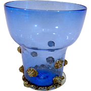 Dainty Royal Blue Venetian Glass Cup Goblet Gold Mica Prunts Seguso Viro Murano