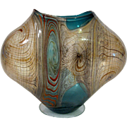 Unique Threaded Vessel Abstract Flamework Geometric Art Glass Hubert Koch Vase