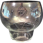 Finland Etched Rowboat Couple Glass vase Hilkka-Liisa Ahola Nuutajarvi Notsjo