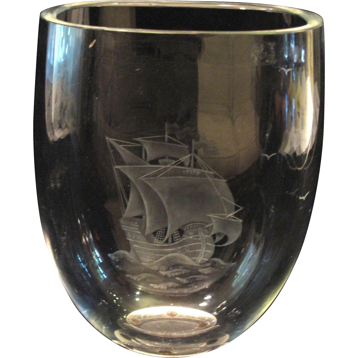 Orrefors Clear Art Glass Vase W Etched Sailing Boat Ship