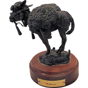 Bronze LLama Roberto Animal Figural Sculpture by Dan Huber Pacific NW on Stand