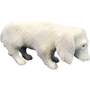 Olga Tritt Dolomite White Stone Puppy Spaniel Dog w/Ruby Eyes Figurine Sculpture
