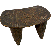 Carved Wooden Pillow Senufo West Africa Birds Turtle Traditional Motifs