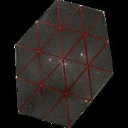 Modern Geometric Art Granite Unequal Hexagon w/Red Lines Sculptural Plaque Mishi