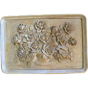 Oregon Artist ED QUIGLEY Fine FLORAL Bouquet Wood Carving Tray Wall Hanging Art