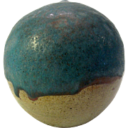 Pacific NW Studio Pottery Marked Young Globular Pot Turquoise On Stoneware