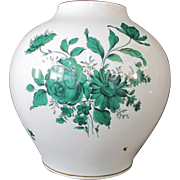 "Augarten WIEN Austria White Hand Painted Green Floral Porcelain 10"" Tall Vase"