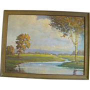 Oregon Artist Clyde Leon Keller Oil Painting October Afternoon at Sauvies Island