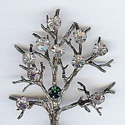 Vintage Sterling Gold wash Vermeil Multi Colored Rhinestone Covered Tree of Life Brooch Pin  1940s
