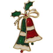Vintage Red & Green Holiday Christmas Bell with holly Beatrix Brooch Pin Cute!