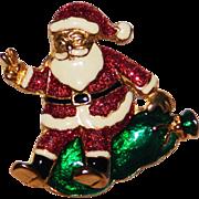 Whimsical Santa on his Magic Bag of Gifts Brooch Cute!