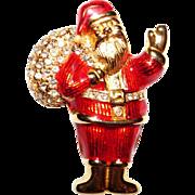 Whimsical Santa carrying his Magic Bag of Christmas Gifts Brooch Cute!