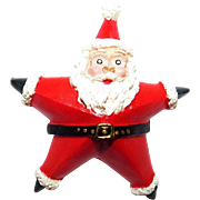Santa in the shape of a Star in his red resin brooch Cute!