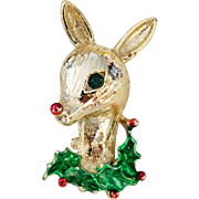 Vintage enameled Gerry's reindeer head with Holly Holiday brooch/pin for Christmas!