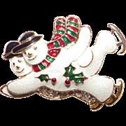 Whimsical Pair of Skating Snowmen Brooch Cute!