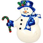 Whimsical Snowmen with Blue Hat Candy Cane & Carrot nose Brooch Cute!