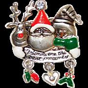 Whimsical Santa Claus with Snowman & Reindeer friends Brooch Cute!