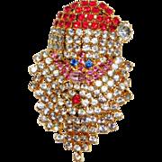 Vintage sparkly rhinestone Santa Claus face brooch cute!