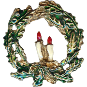 Vintage Holiday Christmas Wreath with Candles Brooch Pin