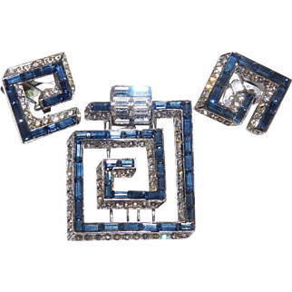 Collectible Sapphire colored Baguette 'Greek Key' Maze Pattern Dress Clip/pin & Clip Earrings Set MB Boucher Company 1953