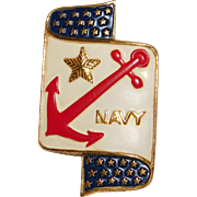 World War II Patriotic National Citizen Committee Navy Relief Society Anchor brooch Coro Company 1940's