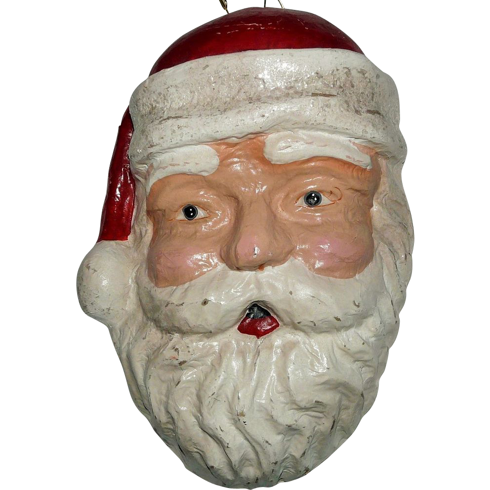 vintage paper mache santa claus head three dimensional wall