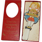 Decorative cut outs for ices, cakes & puddings depicting Victorian boy serving plum pudding for Christmas Dennison Company 1920s Rare