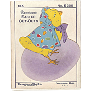 Cute set of four Baby chick nesting on top a Purple Easter Egg decorative cut out cards Dennison Company 1930's